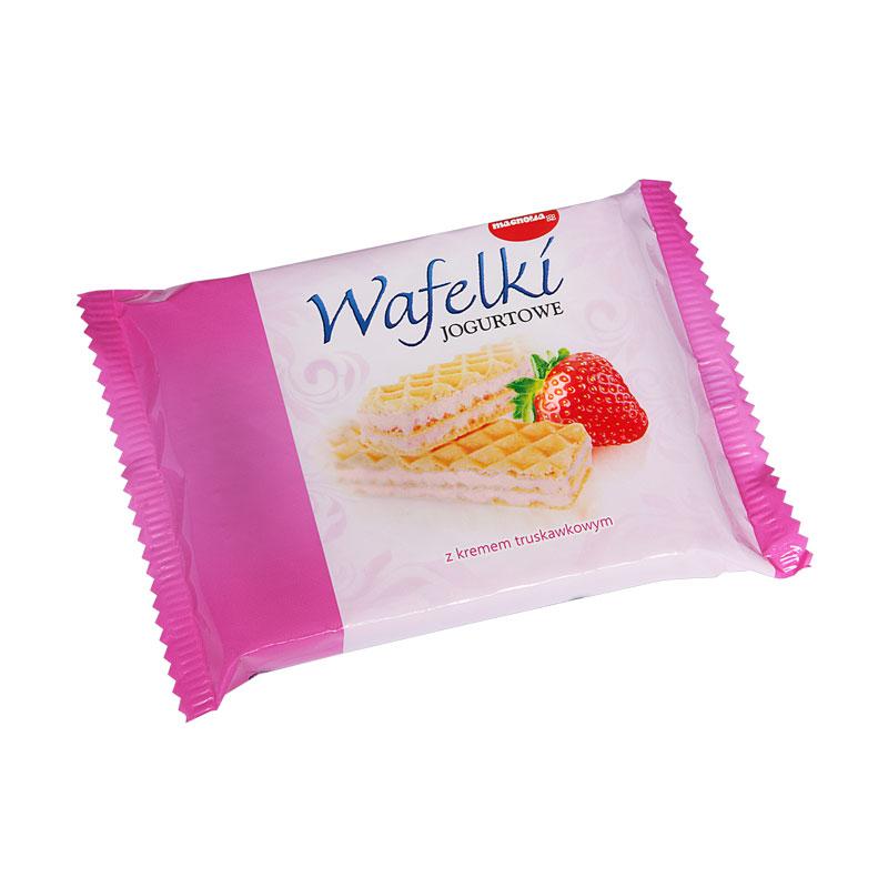 Wafle z kremem o smaku jogurtowo-truskawkowym