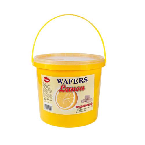 Wafle z kremem o smaku cytrynowym w wiaderku